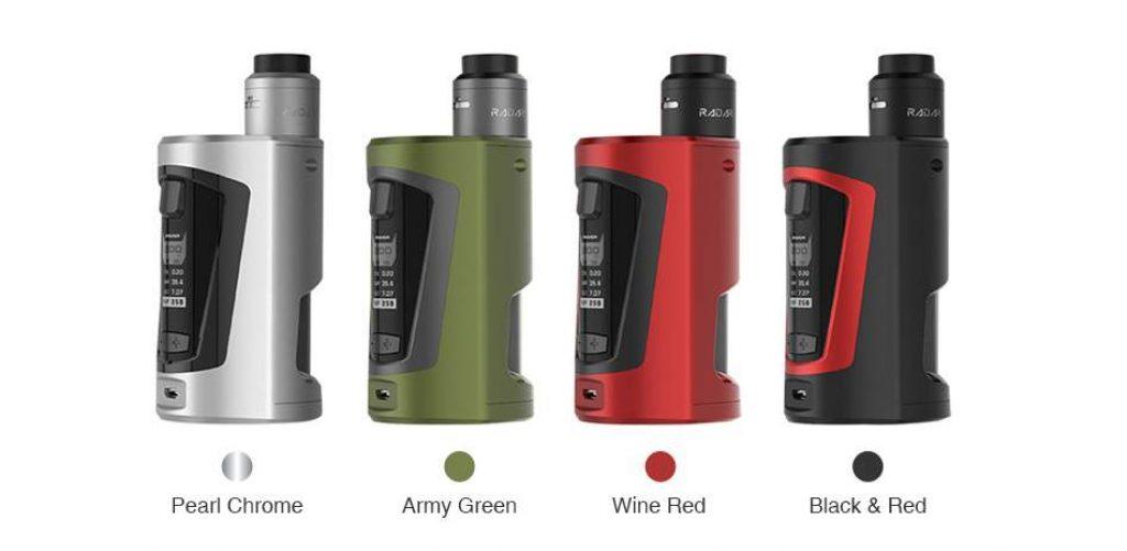 Geekvape Gbox 200w Squonker Kit with Radar RDA colour schemes