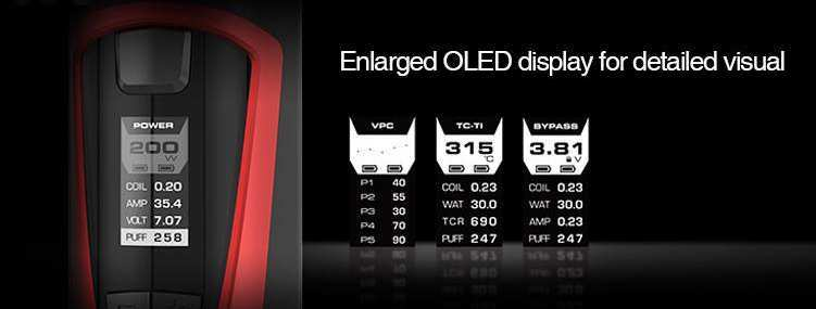 GeekVape GBOX Squonk kit Enlarged OLED display for detailed visual
