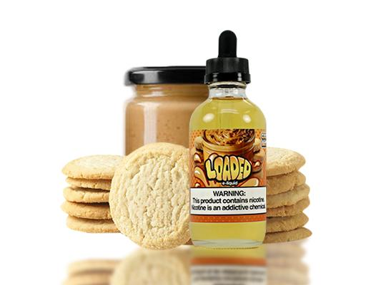 Loaded Cookie Butter E-Liquid by Ruthless on a table