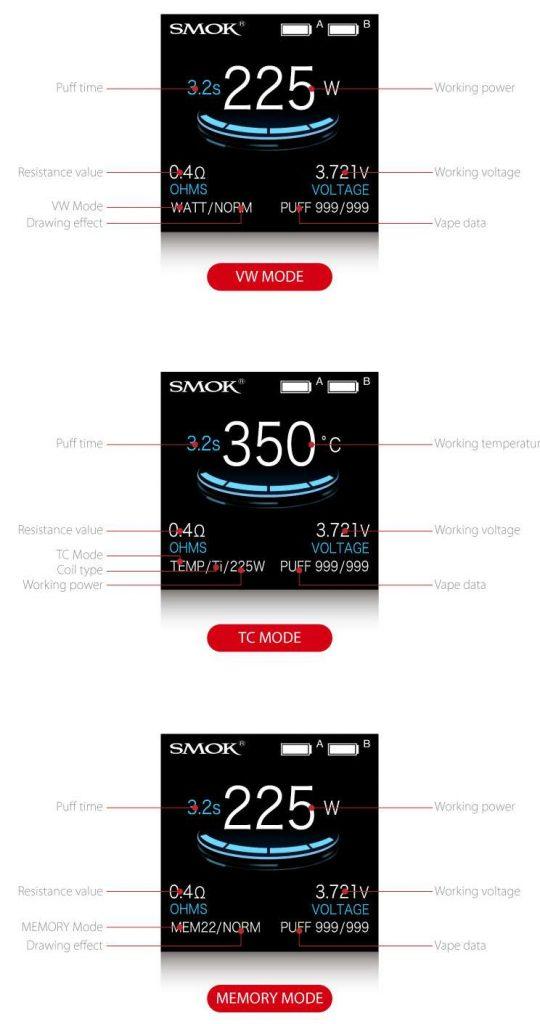 smok tfv12 mag kit 3 modes - tc vw memory modes