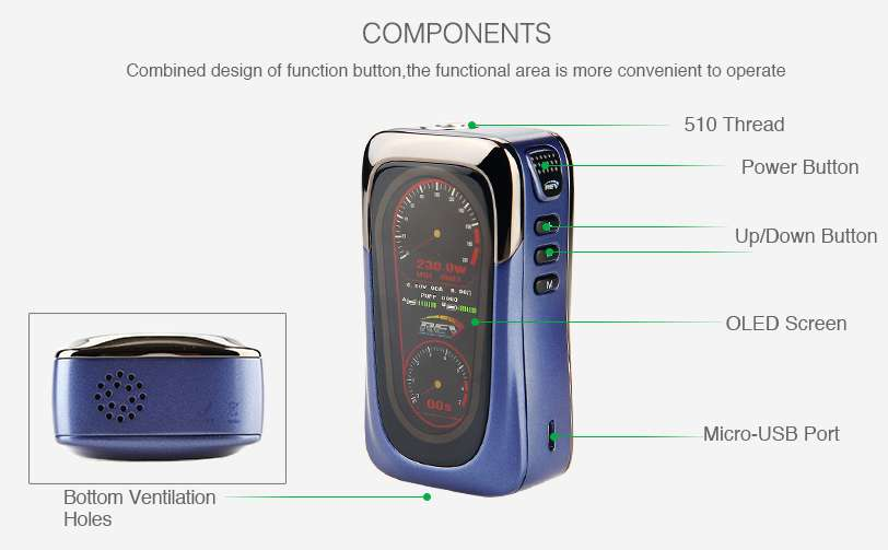 REV GTS 230W TC Box MOD components