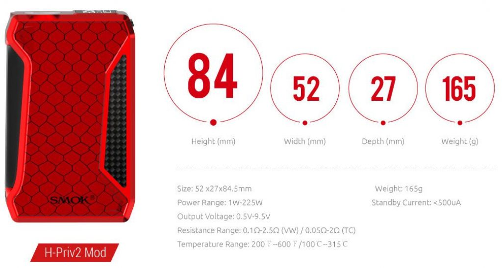 Smoktech H-Priv 2 220w Box Mod Specifications