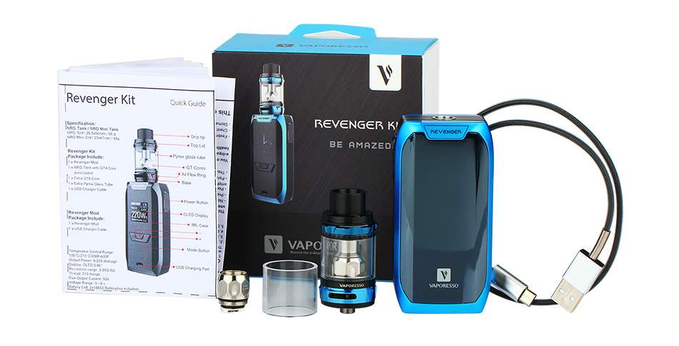 Vaporesso Revenger Kit with NRG tank package contents