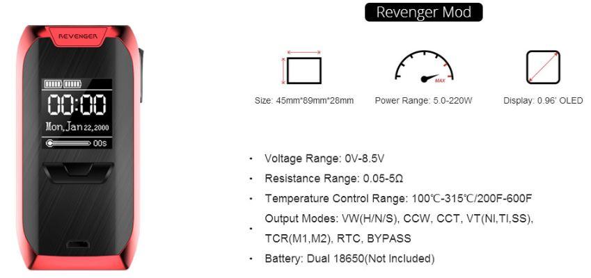 Vaporesso Revenger Mod UK Specifications