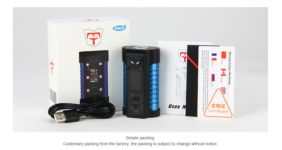 Sigelei MT 220W Box Mod Packaging