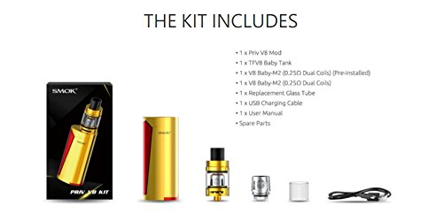 Smok Priv V8 60w Mod Kit with 2ml TFV8 Baby Tank Package Contents UK