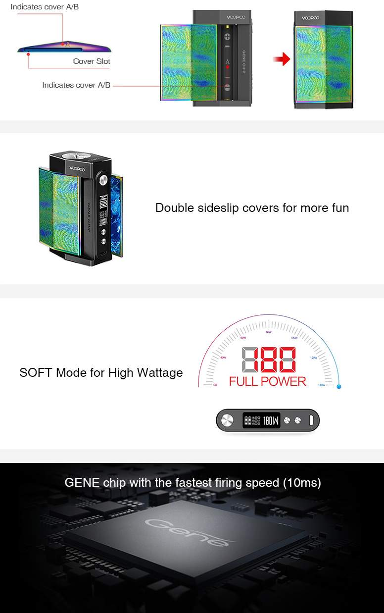 VOOPOO TOO 180W with UFORCE TC Kit GENE Chip Features