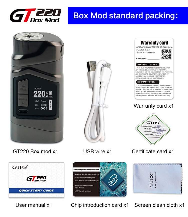 GTRS GT220 220w Box Mod Packaging