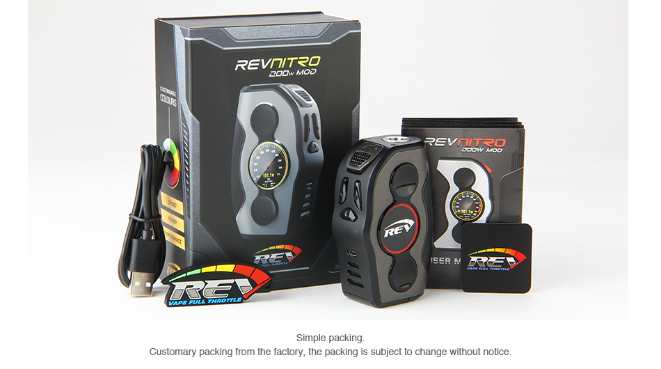 REV Nitro 200W TC Box MOD Packaging Contents