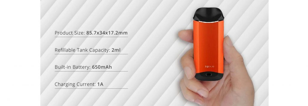 Vaporesso Nexus Starter Kit 650mAh Parameters