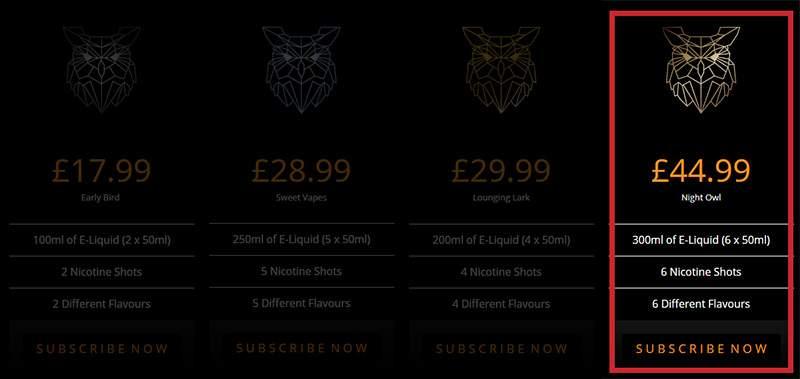 vaping owl e-liquid bundles