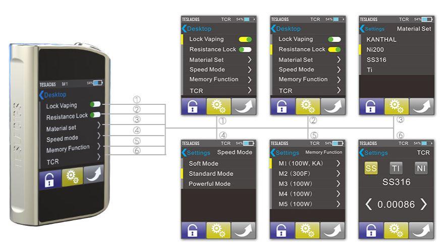 Tesla Touch 150W vape mod functions menu