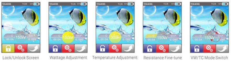 Tesla Touch 150W vape mod menu