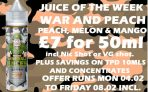 War and Peach 50ml Short Fill – £7.00